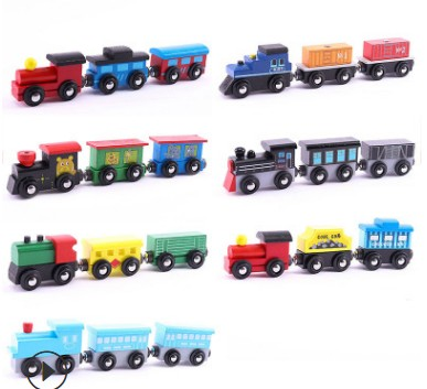 Wooden Train set of 3 engines, passenger coaches, cargo trailer and Animal trailer