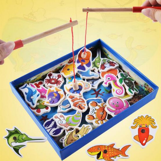 Magnetic Fishing Game Wooden play Set Colorful Ocean Sea Animals