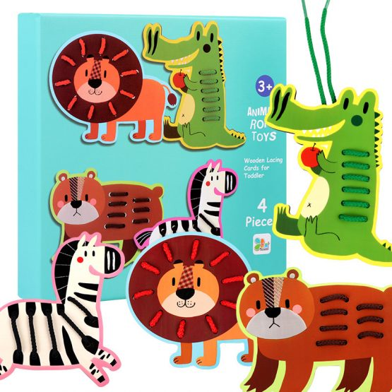 4pcs Wooden Lacing Animals and fruits with Strings Threading