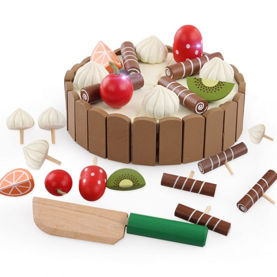 Birthday Cake Wooden Magnetic Cutting Fruit Cake Pretend
