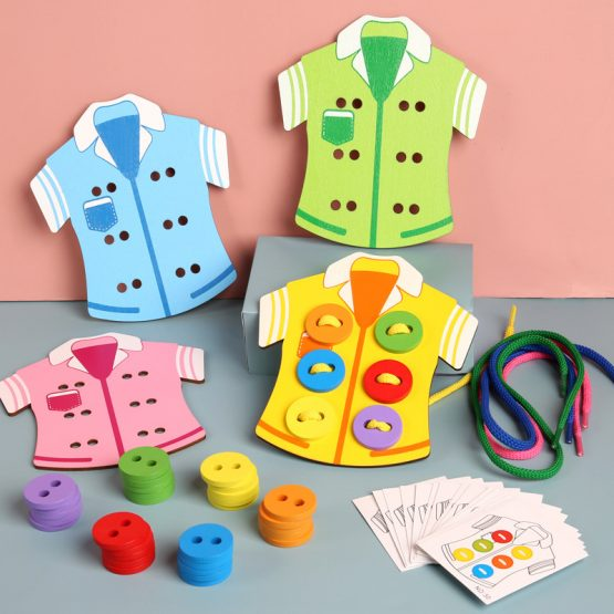 4pcs Wooden Beads Lacing Boards Sewing Buttons Game