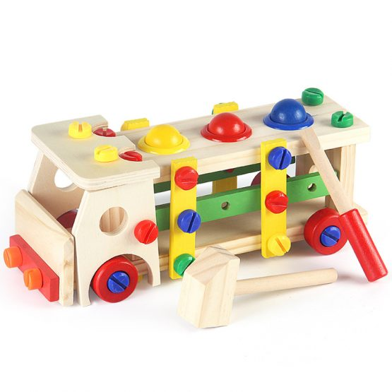 Wooden Truck Blocks Disassembly Nuts Tools Ball Hammering toy