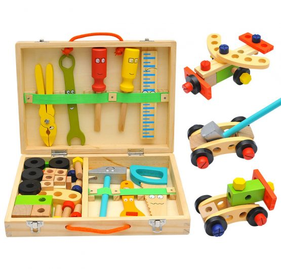 Wooden DIY Multi-Function Tool Box Combination Construction Toys