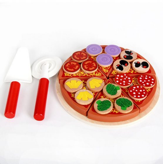 Wooden Pizza DIY Play Food Set for Role Play Toys