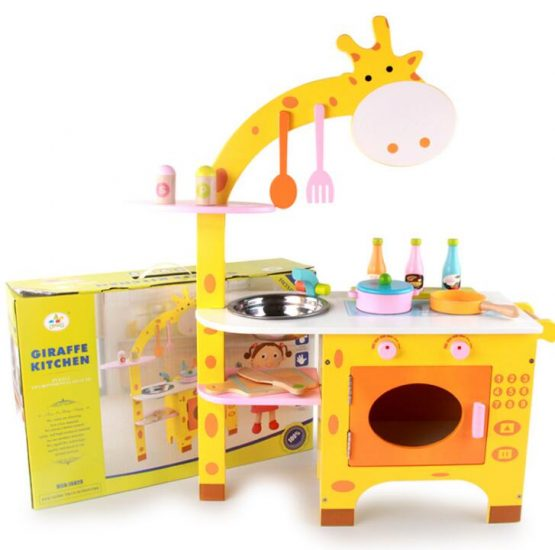 Giraffe Wooden Play Kitchen Pretend Cooking Toy Role Play Set