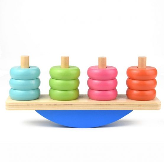 Wooden Donut stack balancing block Colorful toy
