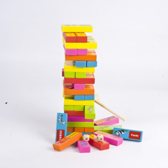 Tumbling Tower 54 Wooden Pieces Colorful blocks Animals Funny Table Game