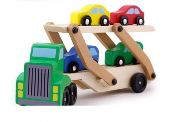 Wooden car trailer with folding ramp