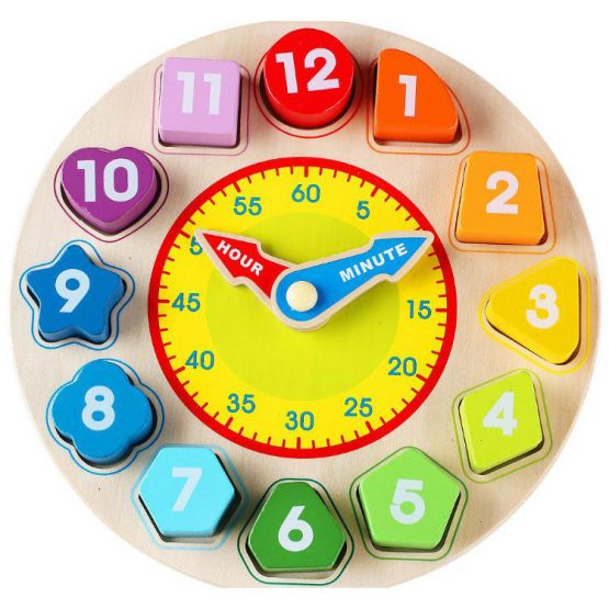 Rainbow clock wooden puzzles Sorting with Number and Shapes
