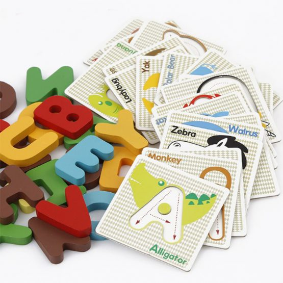 Creative Wooden Alphabets identification puzzles cards