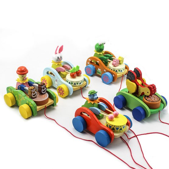 Animals Wooden pull along drumming Cars