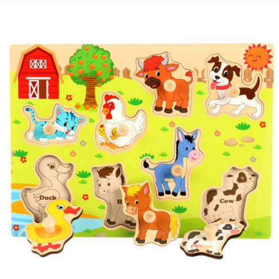 Farm activities 4 Assorted wooden peg puzzles board