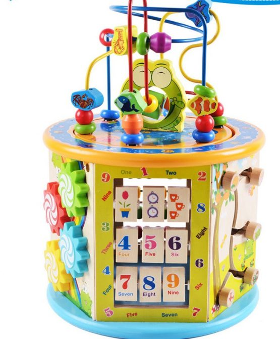 Frog master wooden 8 in 1 activity cube