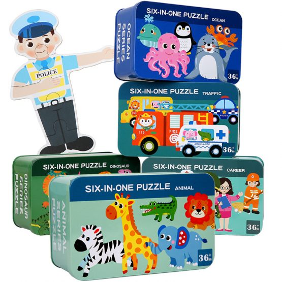 Characters Wooden Set of 6 puzzles in 1 box with different pictures