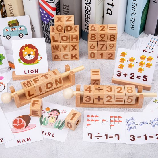 English Spelling Game Learning Card Alphabet Wooden Cubes
