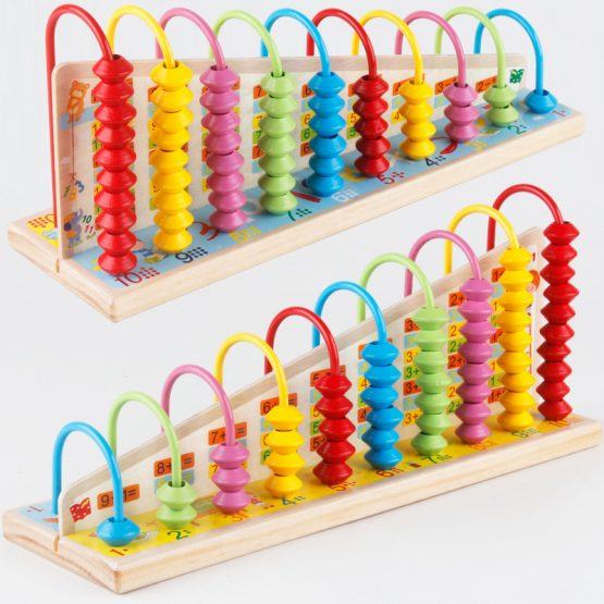 Wooden Soroban Abacus10 Bead Colourful IQ Intelligent