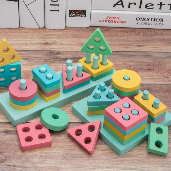 Macaroon Geometry Wooden Stacking shape sorter