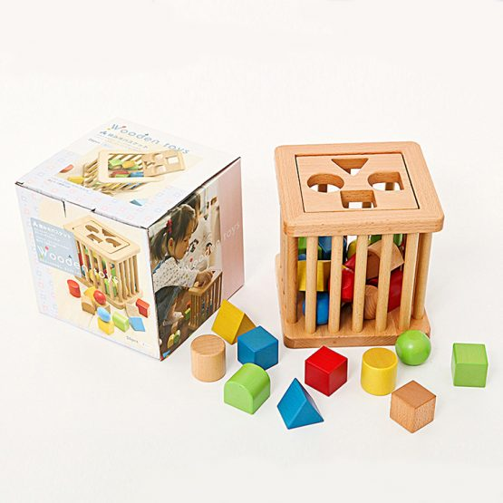 Wooden Blocks Bucket Stimulating Wooden shape sorter