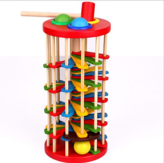 Wooden stacking toy ball and hammer