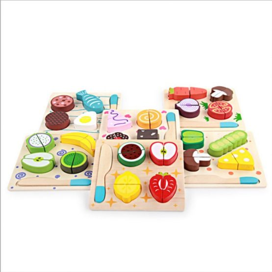 Wooden fruits and vegetables set for kitchen role play