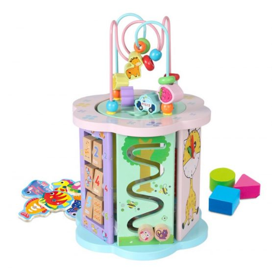 Wooden Drum shape Activities clock and shape sorter all in one
