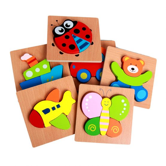 Wooden Puzzles different shapes Animals and Vehicles