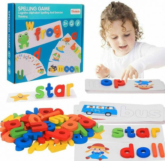 Wooden Puzzles English words and Spelling Cards Alphabet Matching Letter
